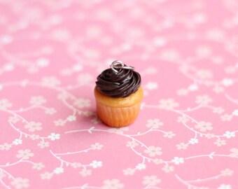 Miniature Cupcake Charm, Polymer Clay Charm, Miniature Food Jewelry