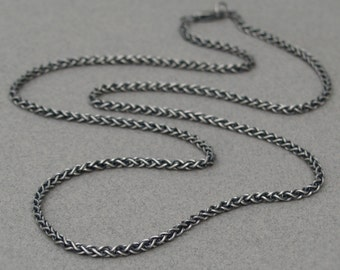 Silver men's chain - Oxidised silver chain - Men's jewellery - Men's necklace - Spiga chain - 2.5mm chain - Solid silver chain