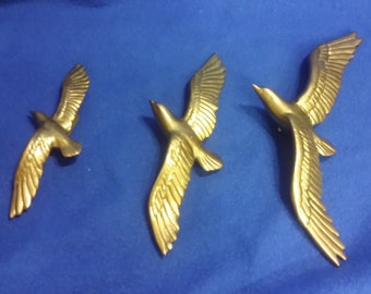 A Set of Solid Brass Hanging Birds