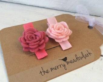 Pink Flower Hair Clips. Felt Flower Clip. Felt Hair Accessory.