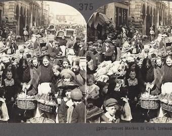 Keystone View Company  - Street Market in Cork Ireland  - Stereoview Card 375 - 12619