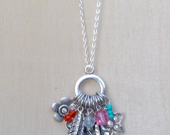 Boho chrome charm necklace,Lanyard Summer jewelry,Chunky necklace,Flower jewelry,Butterfly necklace,Feather necklace