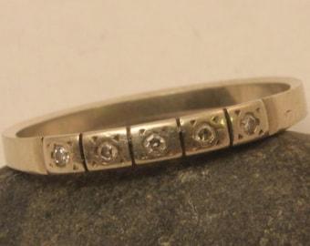 Art Deco 18 k gold wedding band with diamonds / Sweden triple crown 18 k gold ring / 18 k gold band with diamonds / gold band