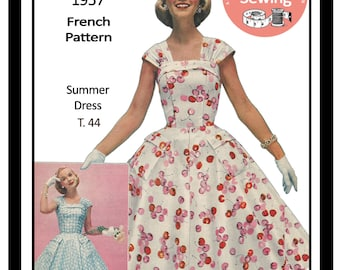 1950s Summer Dress - PDF Full Size Sewing Pattern - Rockabilly - Pin Up - PDF Instant Download