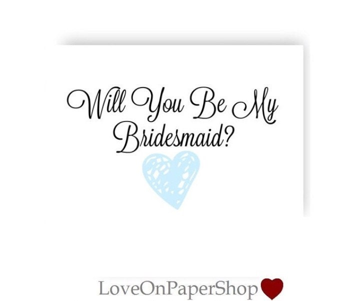 Printable Will You Be My Bridesmaid Card * Beautiful 5x7 HEART ...