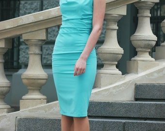 Pencil Dress, Midi Dress, Evening Dress, Blue Dress, Cowl Neck Dress, Elegant Dress, Designer Dress, Office Dress, Business Dress