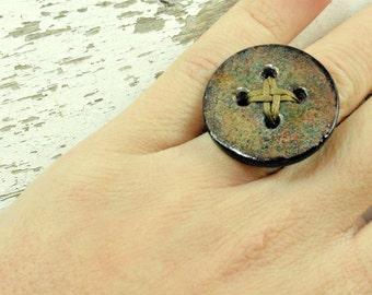 Rustic button ring,christmas gift, big ring, polymer clay button, personality ring, organic shaped ring, lightweight ring, cute ring of clay