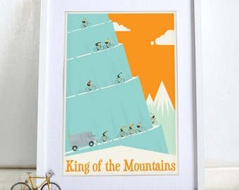 PERSONALISED King of the Mountains Tour De France Bicycle Bike Poster Wall Art Print Home Décor
