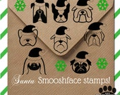 Santa dog breed rubber stamp - Christmas & Holiday dog stamp perfect for hang tags, or Christmas letters - wood mounted or self inking stamp