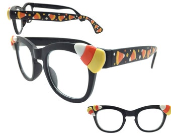 Women's Happy Halloween Clear Lens Glasses with Hand Painted Candy Corn and Polka Dots
