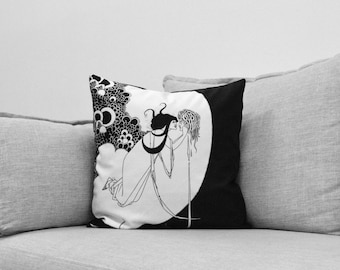 "aubrey beardsley illustration - 18"" velveteen pillow case - the climax - for Salomé: a tragedy in one act // book by oscar wilde"