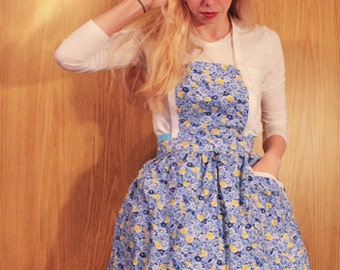 Blue and Yellow Floral Apron