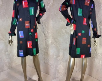 Vintage Caron Shirt Shift Dress Black Abstract Geometric Print Pointed Collar Cuffed Sleeves