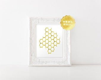 Honeycomb Real Gold Foil - Honeycomb Art Print - Honeycomb Decor - Gold Foil Prints - Honey Bee Art - Beekeeper Gift - White and Gold Art
