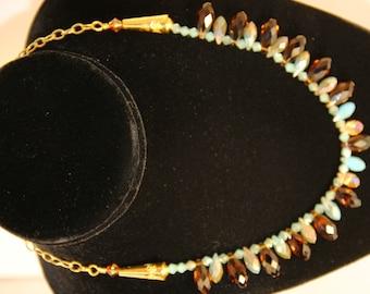 Sand and Sea Czech Crystal Teardrop Beaded Necklace
