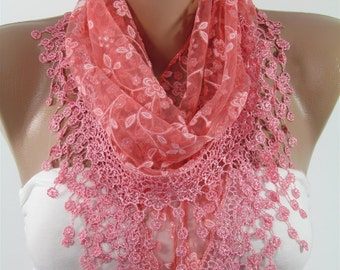 Floral Lace Scarf Pink Scarf Spring Scarf Accessories Summer Scarf Floral Pink Wedding Scarf Bridesmaids Gift Mothers Day From Daughter Son