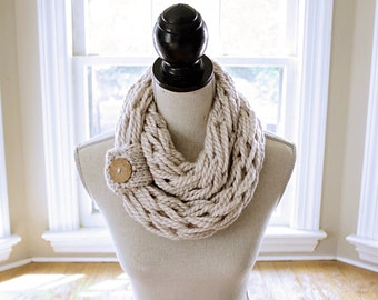 Arm Knit Scarf // Chunky Knit Scarf // Infinity Scarf // Chunky Cowl //  Circle Scarf // INCLUDING a Button Cuff - Brown Coconut Button