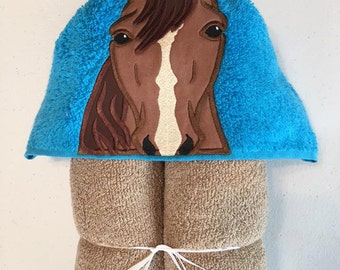 """Horse Applique Hooded Bath, Beach Towel 30"""" x 54"""" Personalization Available"""
