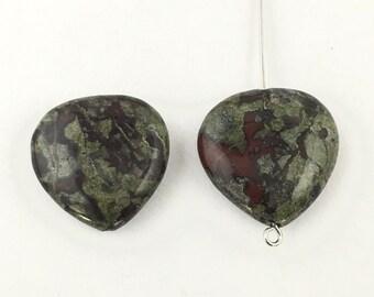 2 dragon blood jasper stone bead  heart shape, 20mm #PP141