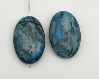 2  blue apatite brazilian agate oval stone beads ,25mm x 40mm #PP117