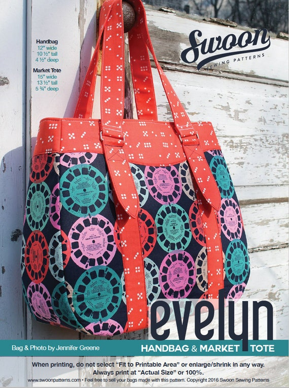 Swoon Patterns Evelyn Tote Amp Handbag Pdf Tote Bag Purse
