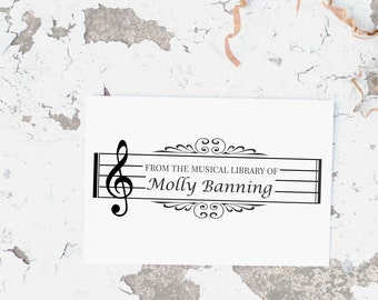 Music Stamp, Music Teacher Stamp, Sheet Music Stamp, Musical Note Stamp, Self inking Music Stamp, Music Property of Stamp 10066