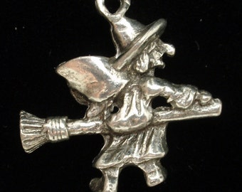 Witch on Broomstick Halloween Charm Sterling Silver