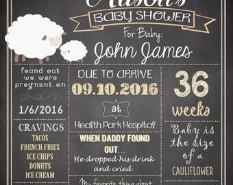 Lamb Baby Shower Chalkboard Poster, Sheep Baby Shower sign DIGITAL FILE HM411