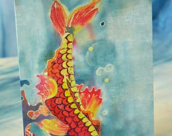Blank Card with Original Artwork Print Batik Red Fish