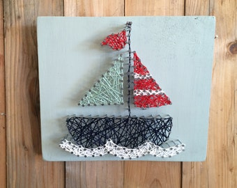 Sailboat String Art, Sailboat Decor, Nautical String Art, Nautical Decor, Sailing String Art, Nautical Nursery Decor, Boys Room Decor