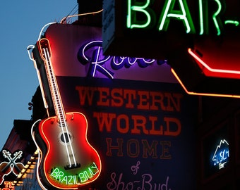 "Nashville, Neon Sign Art, Photography, Nashville Sign, Neon Sign, Bar Art, Downtown Nashville, Country Music, Guitar Art ""Brazil Billy"""