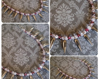 Garnet and Light Rose Crystal Spike Chain Necklace