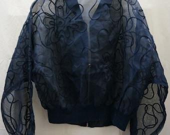 SUMMER JACKET VINTAGE, Black, transparent organza evening jacket unique