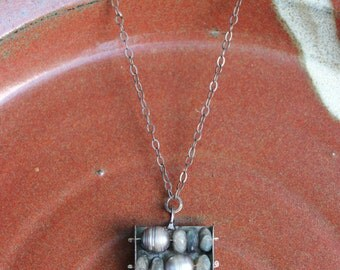 Handforged Iron Abacus with Labradorite and Freshwater Pearl
