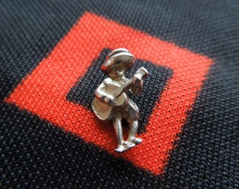 Figural Mexican Guitar Player With Sombrero Charm Sterling Silver Charm for Bracelet from Charmhuntress 02647