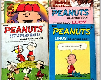 Charlie BROWN COLORING Books Mostly Uncolored LUCY, Linus 1968 Vintage all Schulz Collectible!