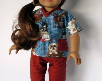 """18 Inch Doll Outfit, Dogs & Kitties Blue/Burnt Orange Scrubs, Top and Pants, American made to fit 18"""" girl dolls"""