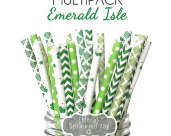 SALE - EMERALD ISLE Green Multipack, Chevron, Clover, Shamrock, Kelly Green, Party, Wedding, Birthday, Vintage, 25 Straws, St Patricks Day