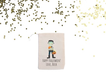 Frankenstein Personalized Candy or Gift Card Bag // Personalized Halloween Favor Bag