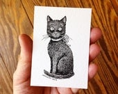 Original ACEO Art Card, Pen and Ink Drawing of Black Cat with Ribbon Bow, Black and White Illustration, Cat Art by Laurie A. Conley