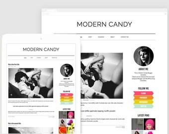 Premade Blogger Template — Fashion Blogger — Bold Template —  Modern Blogger Design — Neon Colors — Lifestyle Blogger — Portfolio / Candy