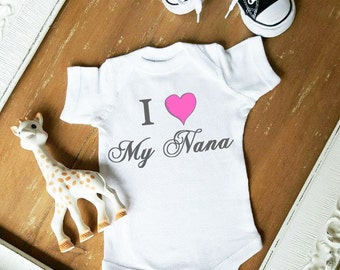 I Love My Nana Pink Heart Baby Girl Customize Font Color Bodysuit by Simply Chic Baby Boutique