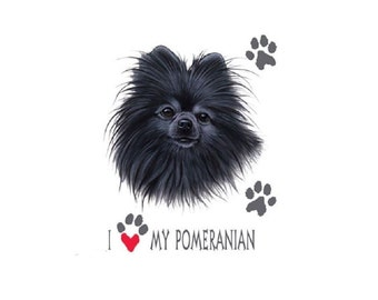 I Love My Black Pomeranian Dog T SHIRT, Sweatshirt, Quilt Fabric Block Item no. 893a