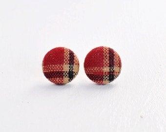 Burgundy Plaid Button Earrings. Fall Plaid Stud Earrings. Plaid Jewelry. Rustic Earrings. Maroon and Olive Plaid. Fall Jewelry.