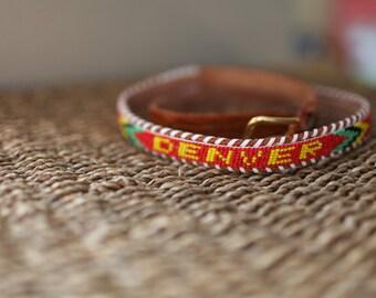 vintage beaded red  DENVER colorado skinny tooled brown leather belt & buckle 30
