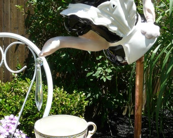 """Art Deco Maid """"Would You Care for a Spot of Tea, Sir?"""" - Whimsical Garden Art"""