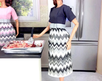 Barbie Doll Dress - Gray, White, and Black Chevron Print Dress and Shoes