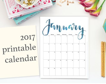 "2017 2018 Printable Calendar, Calligraphy, Editable, Letter Size 8.5"" x 11"" Instant Download, Portrait, Wall"