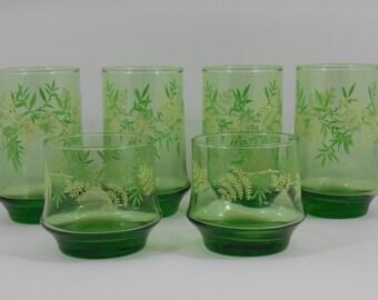 Libbey Impromptu Spring Green Fern Glasses, Retro 1970s Libbey Glassware, Set of 6 Mixed Sizes Tumblers Barware