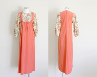 1970s Floral Corduroy Fleece Maxi Dress by Evelyn Pearson // Small